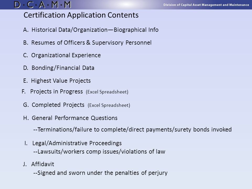 Certification Application Contents