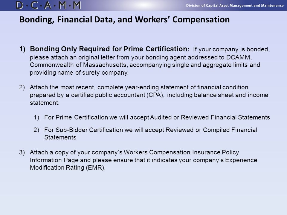 Bonding, Financial Data, and Workers' Compensation