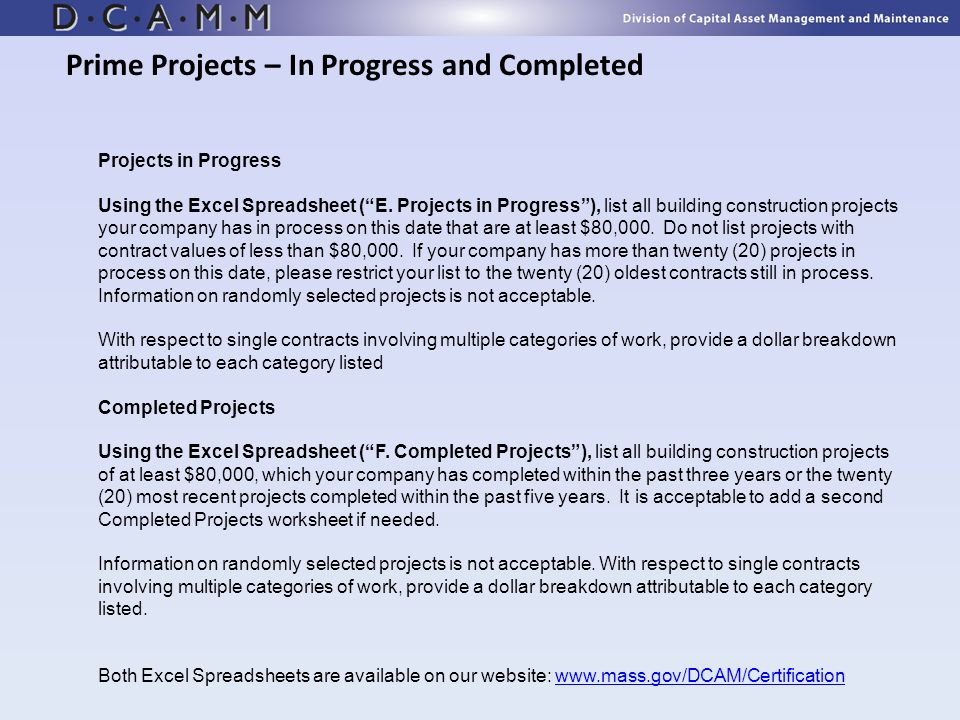 Prime Projects – In Progress and Completed
