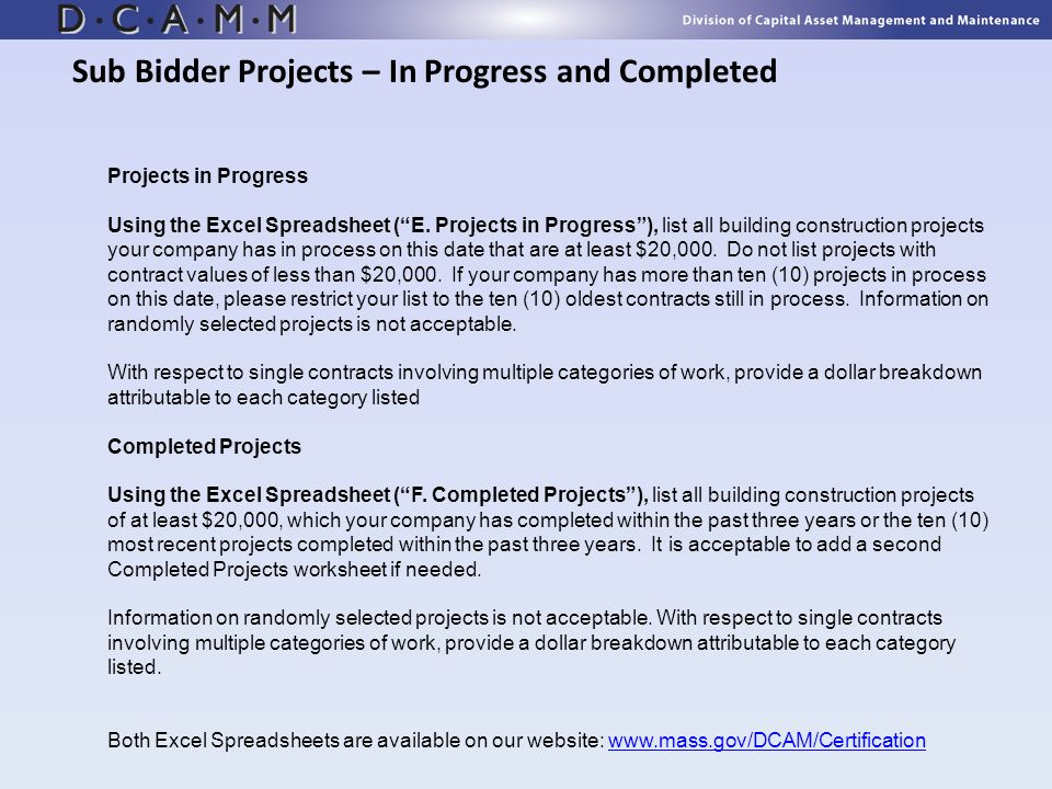 Sub Bidder Projects – In Progress and Completed