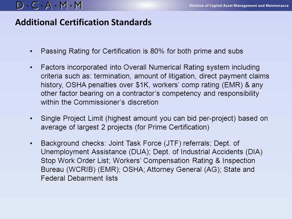 Additional Certification Standards
