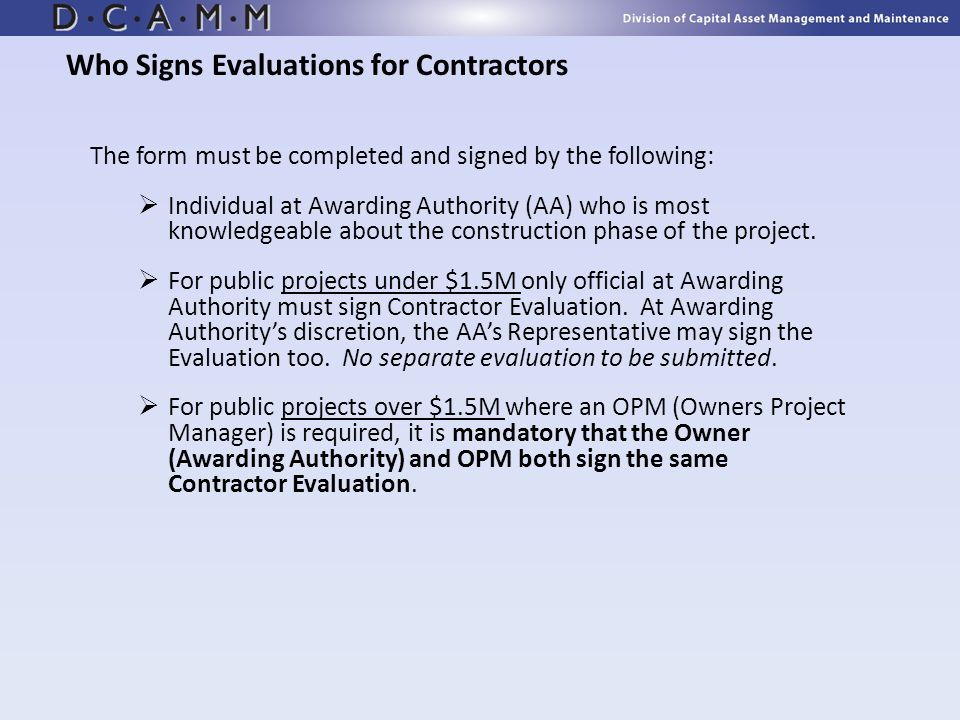 Who Signs Evaluations for Contractors