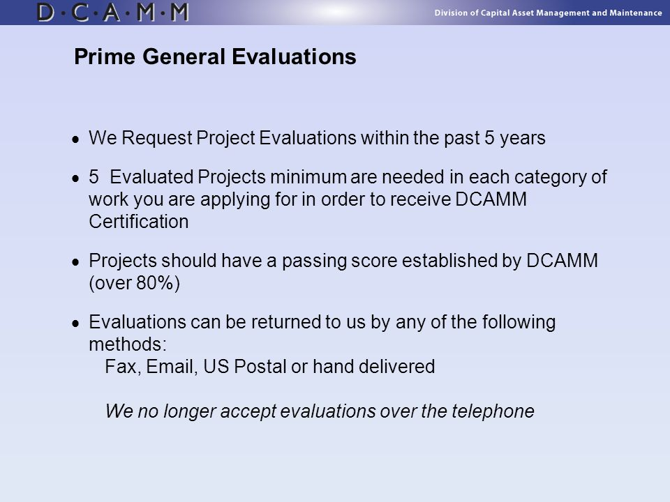 Prime General Evaluations