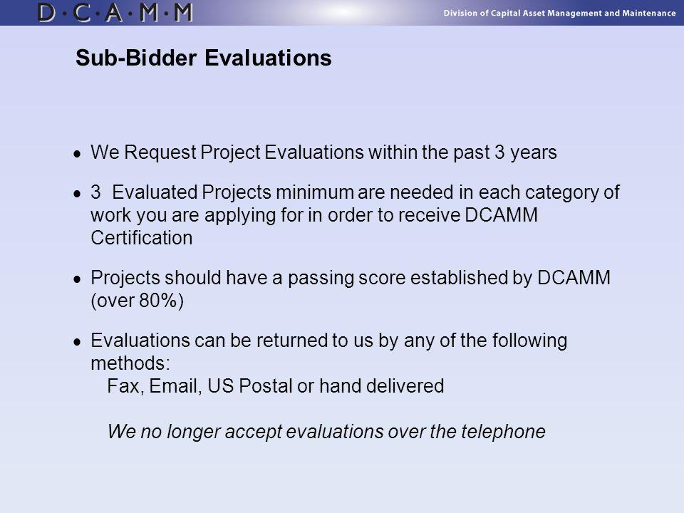 Sub-Bidder Evaluations