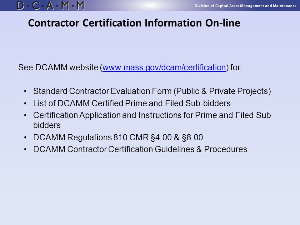 Contractor Certification Information On-line