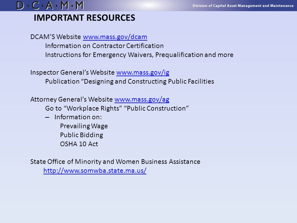 IMPORTANT RESOURCES DCAM'S Website