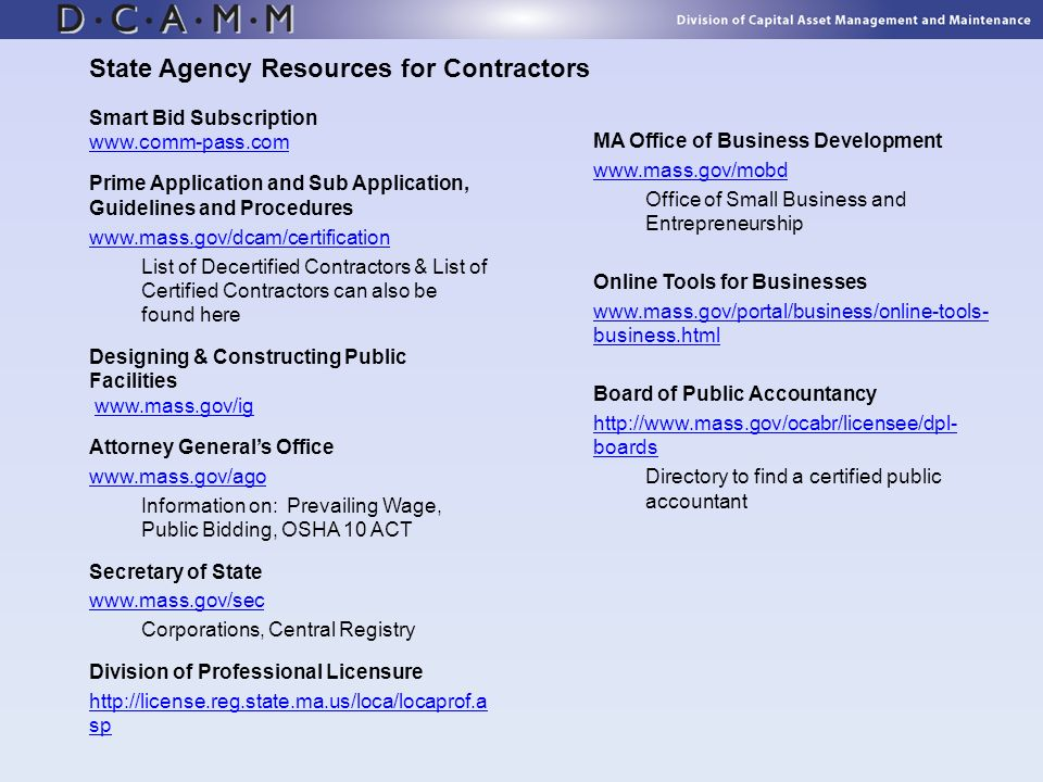 State Agency Resources for Contractors
