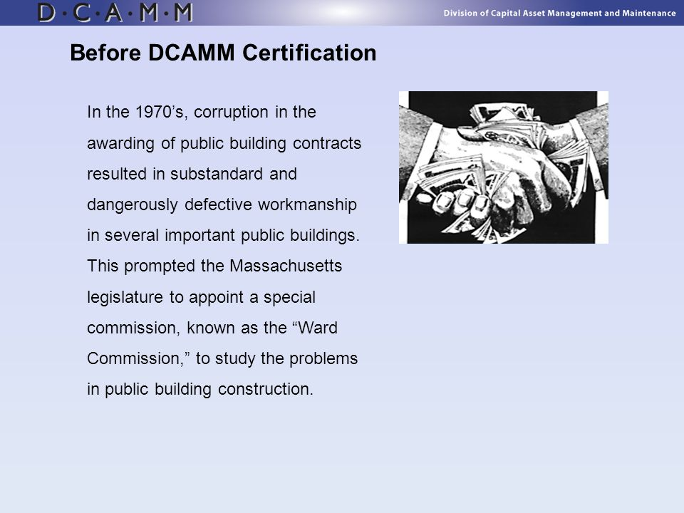 Before DCAMM Certification