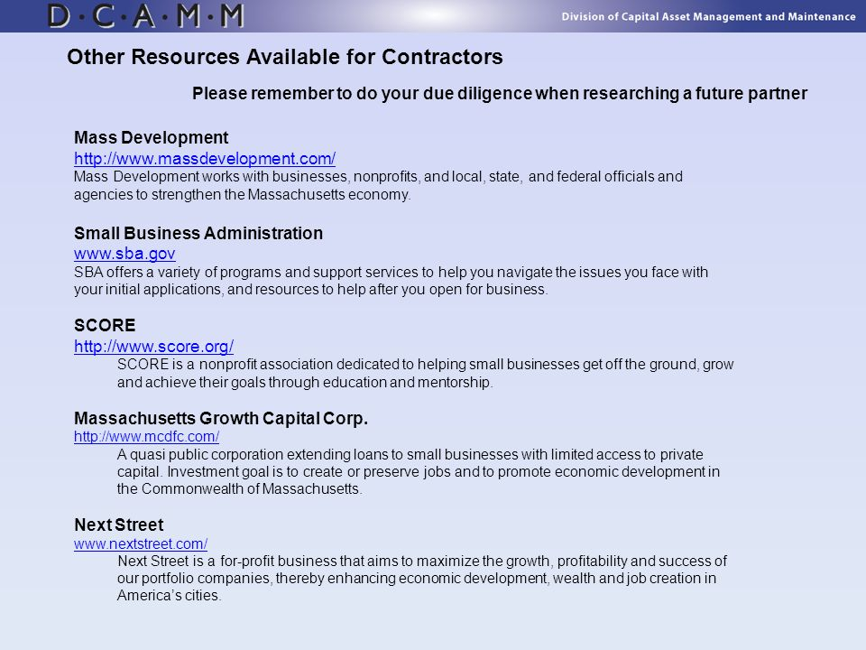 Other Resources Available for Contractors