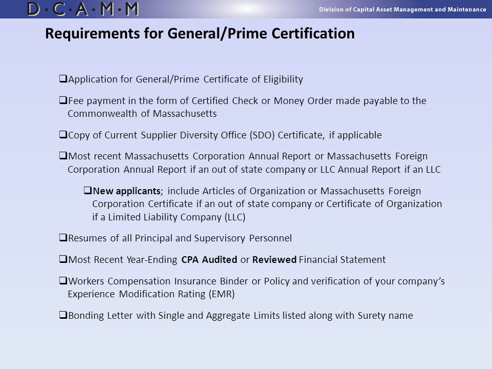 Requirements for General/Prime Certification
