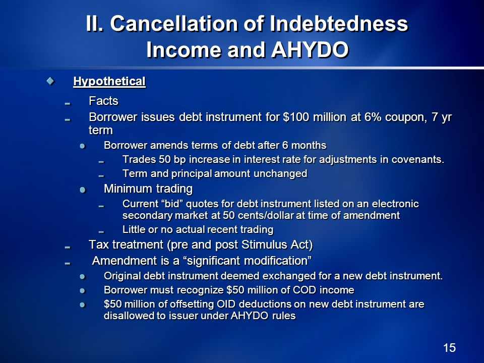 II. Cancellation of Indebtedness Income and AHYDO
