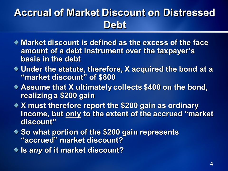 Accrual of Market Discount on Distressed Debt