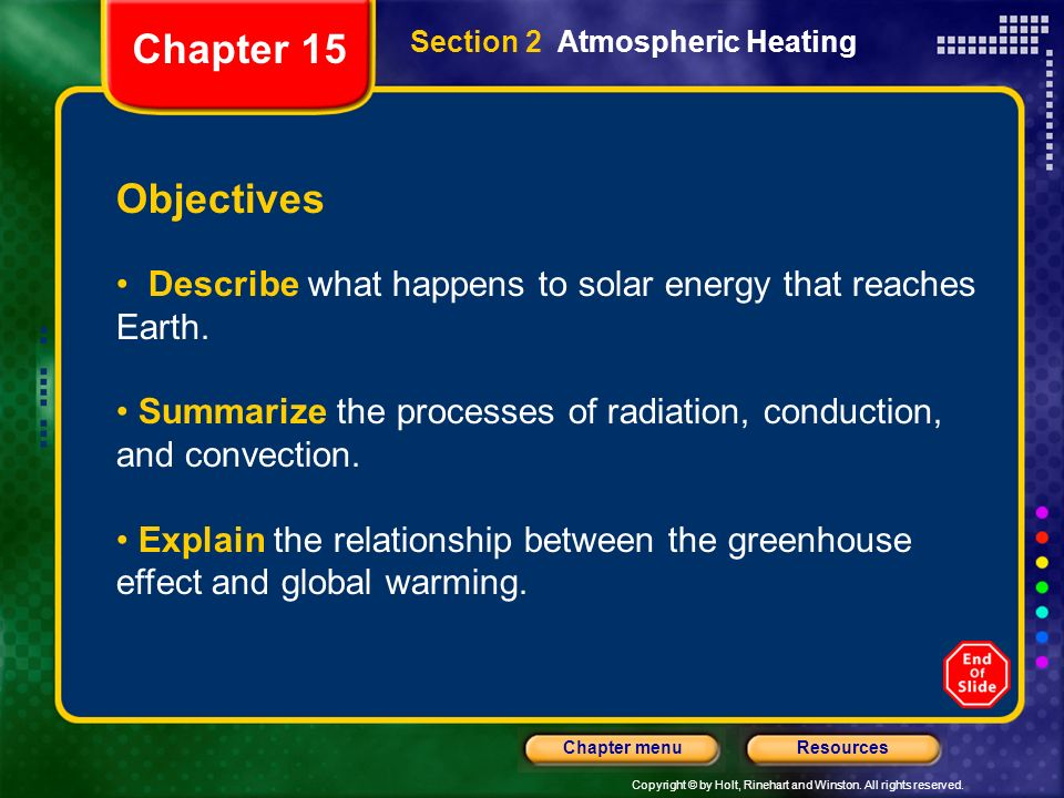 Chapter 15 Section 2 Atmospheric Heating. Objectives. Describe what happens to solar energy that reaches Earth.