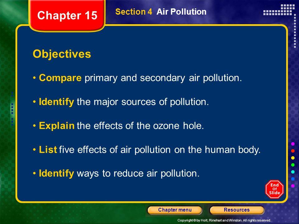 Chapter 15 Objectives Compare primary and secondary air pollution.
