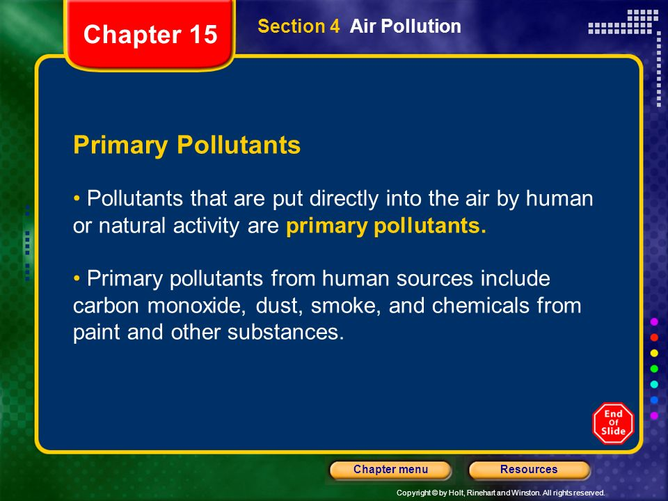 Chapter 15 Primary Pollutants