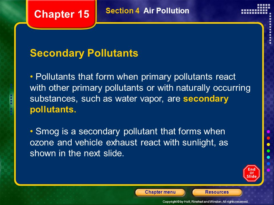 Chapter 15 Secondary Pollutants