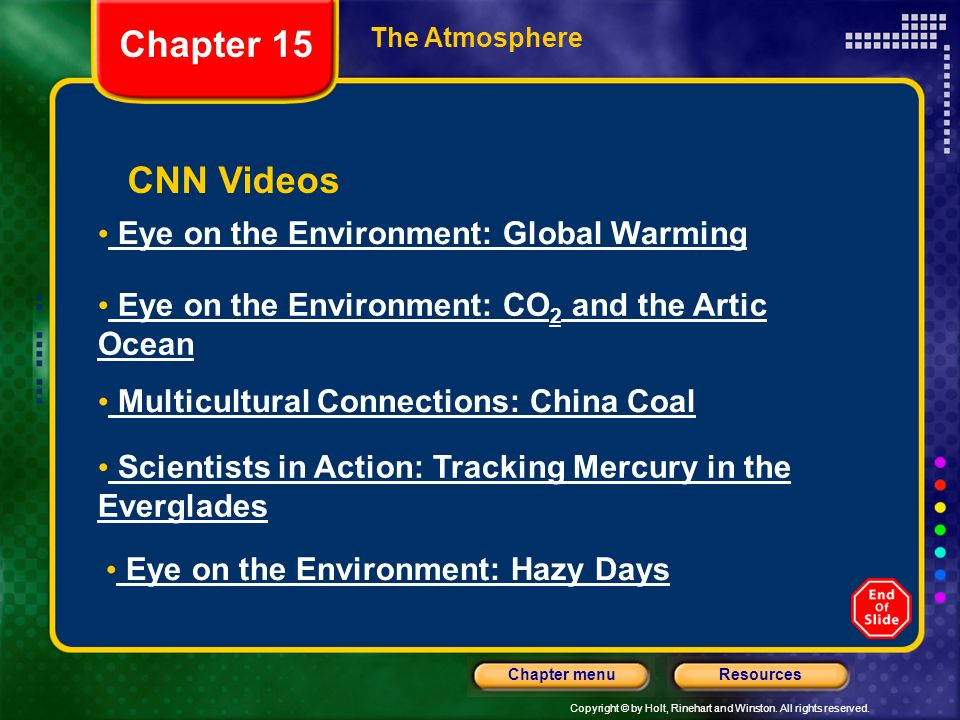 Chapter 15 CNN Videos Eye on the Environment: Global Warming