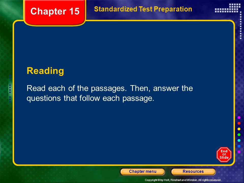 Chapter 15 Standardized Test Preparation. Reading.