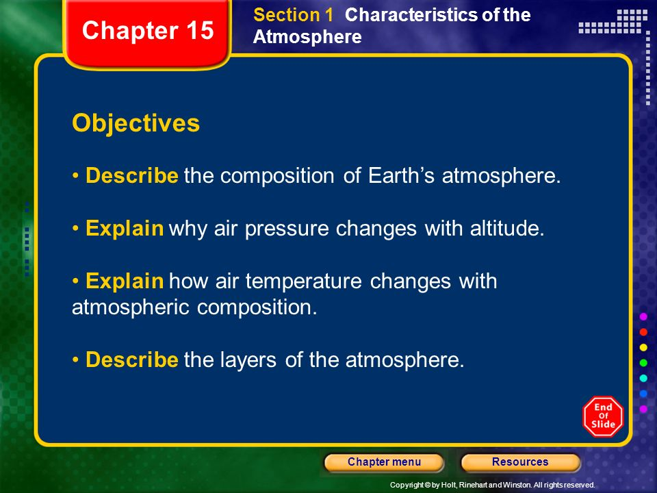 Chapter 15 Objectives Describe the composition of Earth's atmosphere.