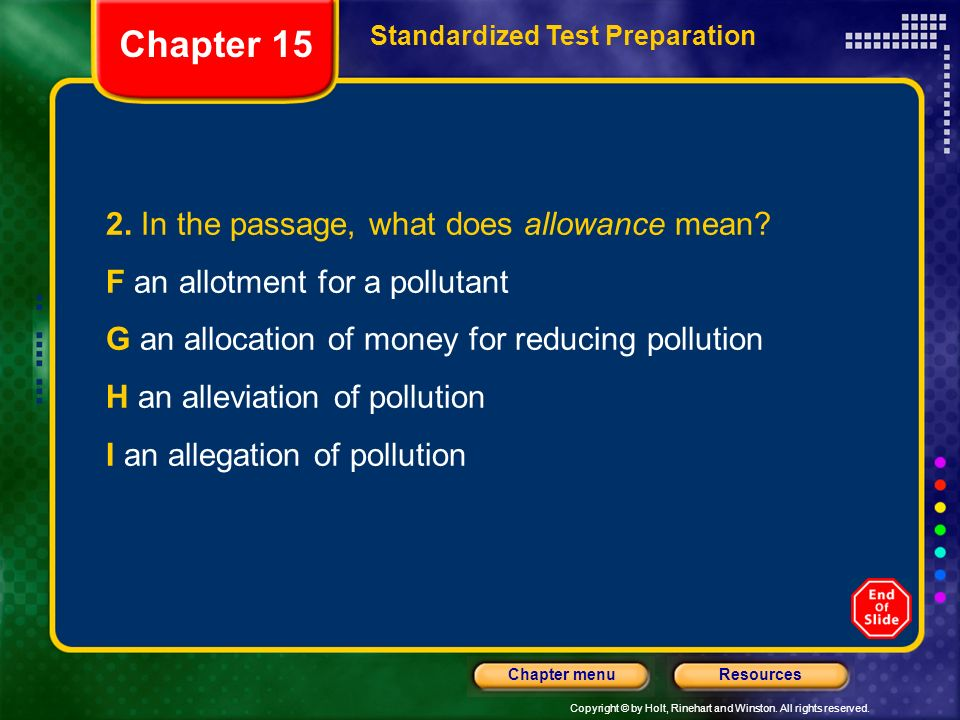 Chapter 15 2. In the passage, what does allowance mean