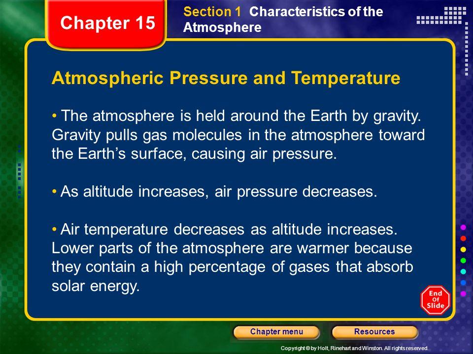 Atmospheric Pressure and Temperature