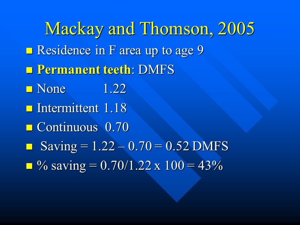 Mackay and Thomson, 2005 Residence in F area up to age 9