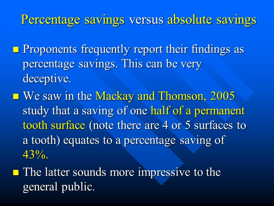 Percentage savings versus absolute savings
