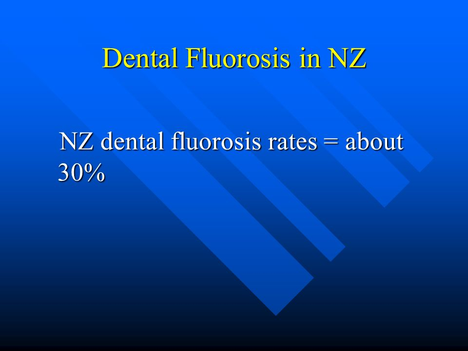 Dental Fluorosis in NZ NZ dental fluorosis rates = about 30%