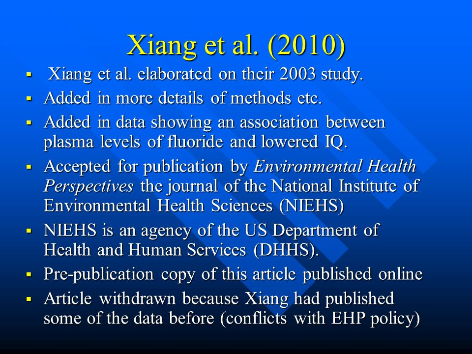 Xiang et al. (2010) Xiang et al. elaborated on their 2003 study.