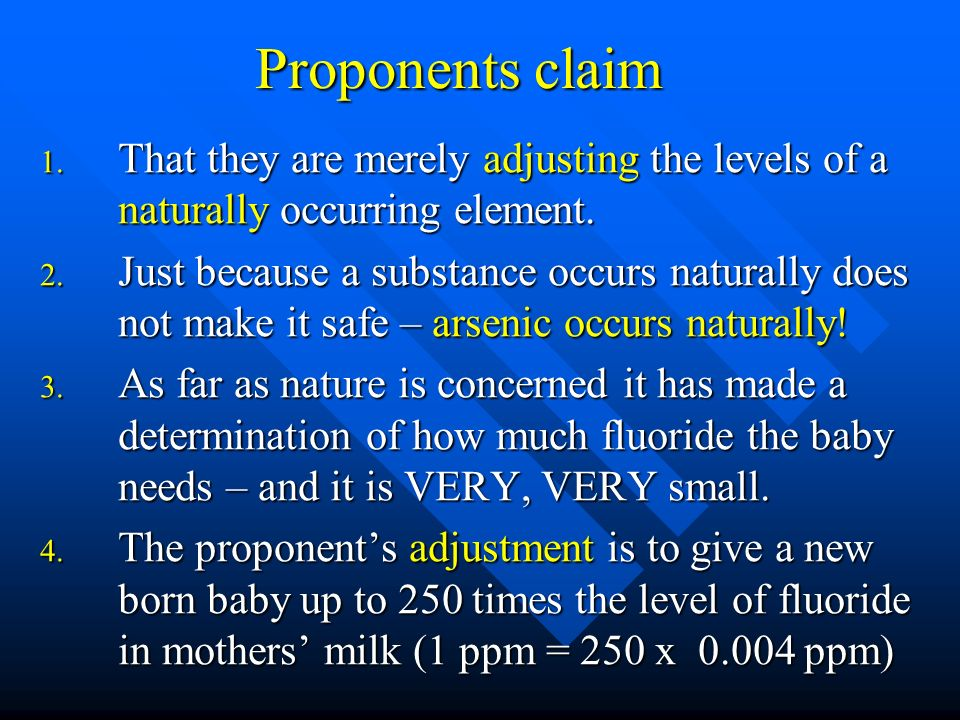Proponents claim That they are merely adjusting the levels of a naturally occurring element.