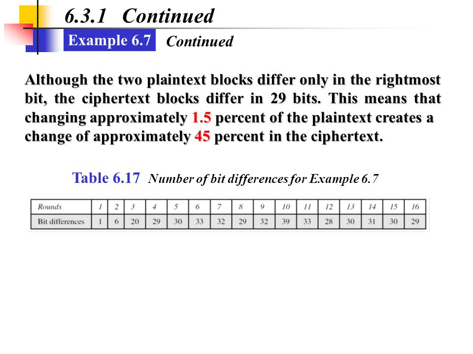 6.3.1 Continued Example 6.7 Continued