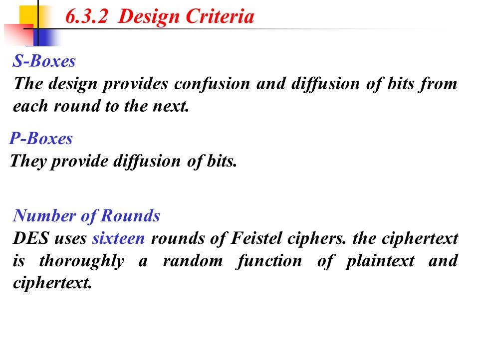 6.3.2 Design Criteria S-Boxes