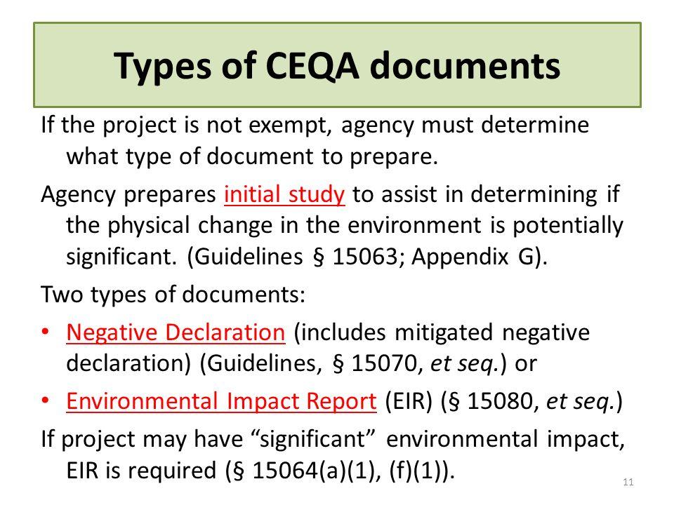 Types of CEQA documents