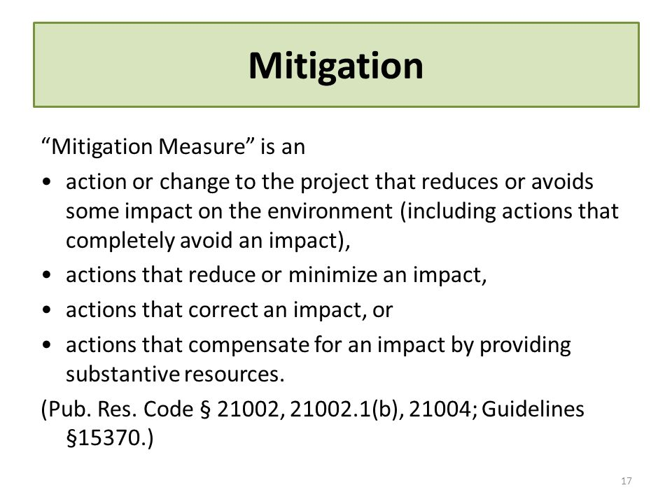 Mitigation Mitigation Measure is an