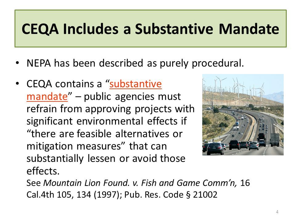 CEQA Includes a Substantive Mandate