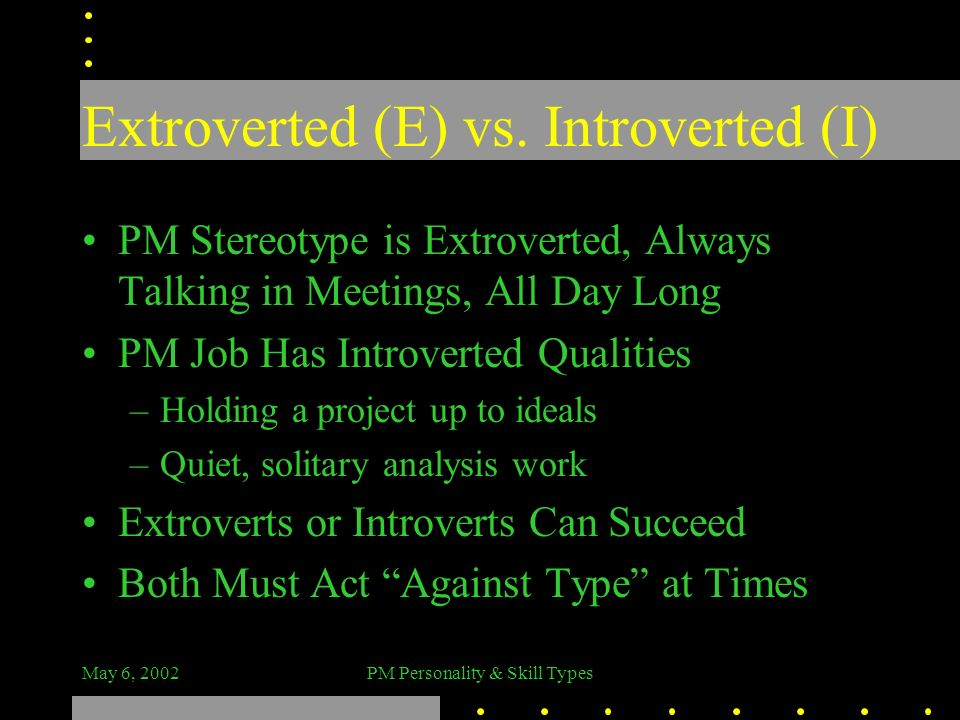 Extroverted (E) vs. Introverted (I)