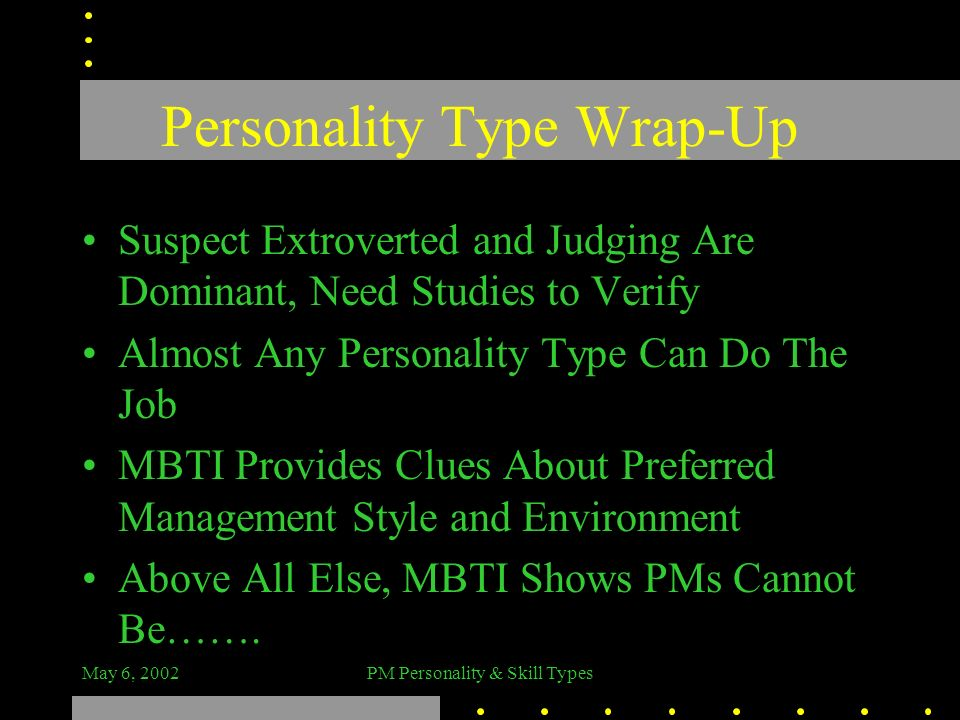 Personality Type Wrap-Up
