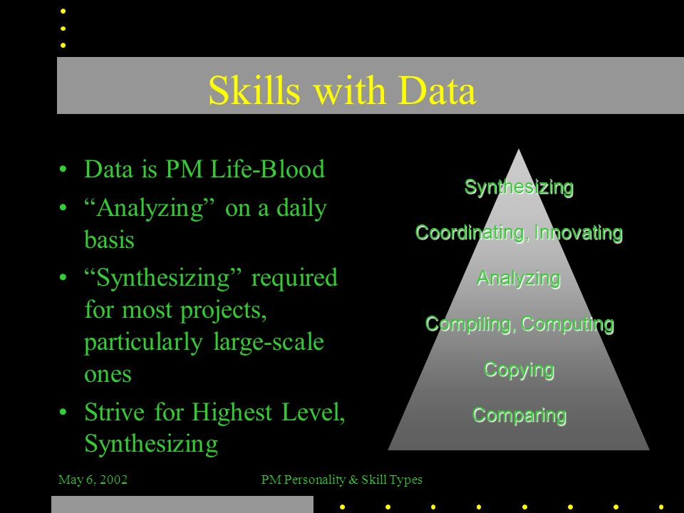 Skills with Data Data is PM Life-Blood Analyzing on a daily basis