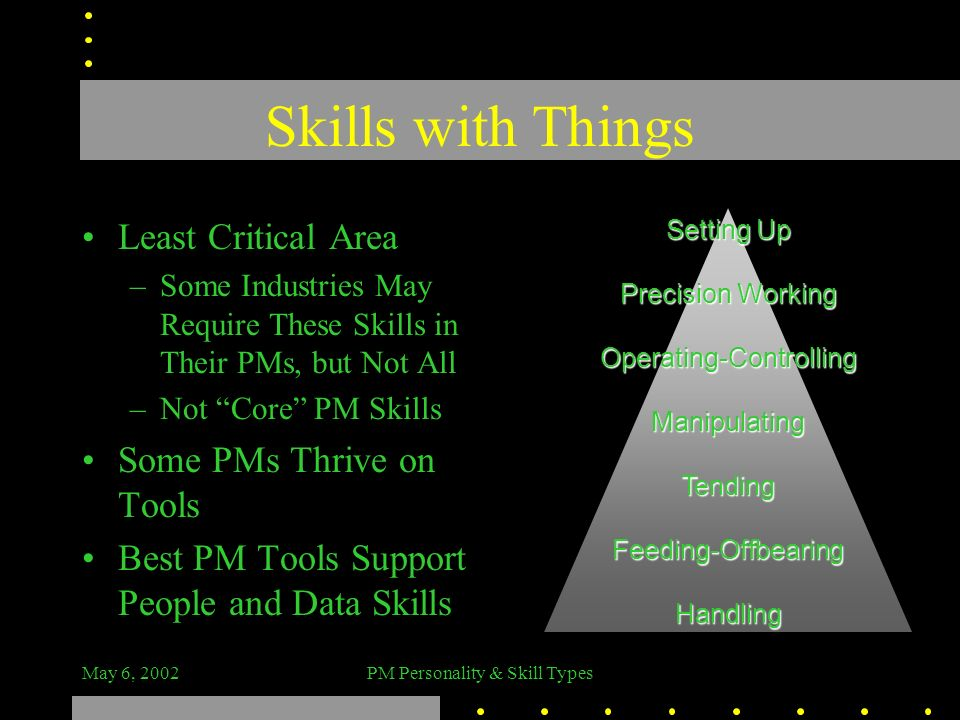 Skills with Things Least Critical Area Some PMs Thrive on Tools