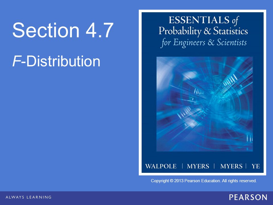 Section 4.7 F-Distribution