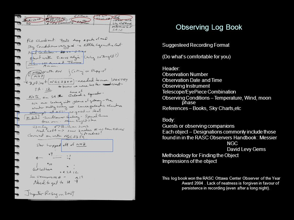 Observing Log Book Suggesteed Recording Format