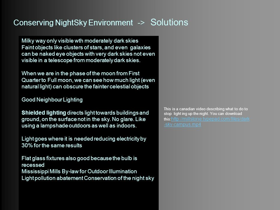 Conserving NightSky Environment -> Solutions
