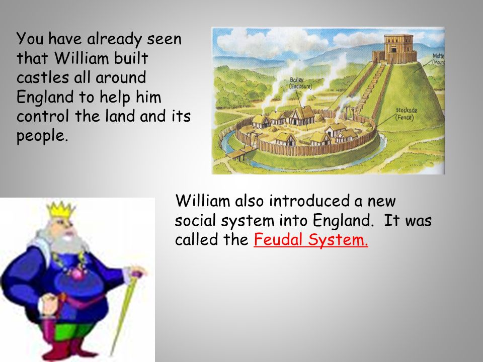 You have already seen that William built castles all around England to help him control the land and its people.