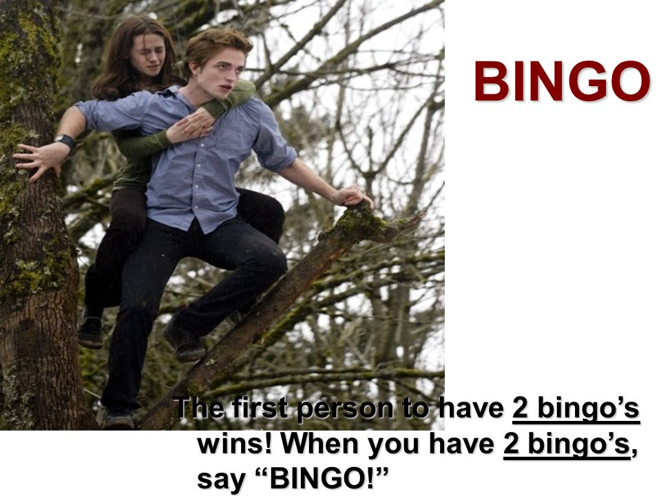 BINGO The first person to have 2 bingo's wins! When you have 2 bingo's, say BINGO!