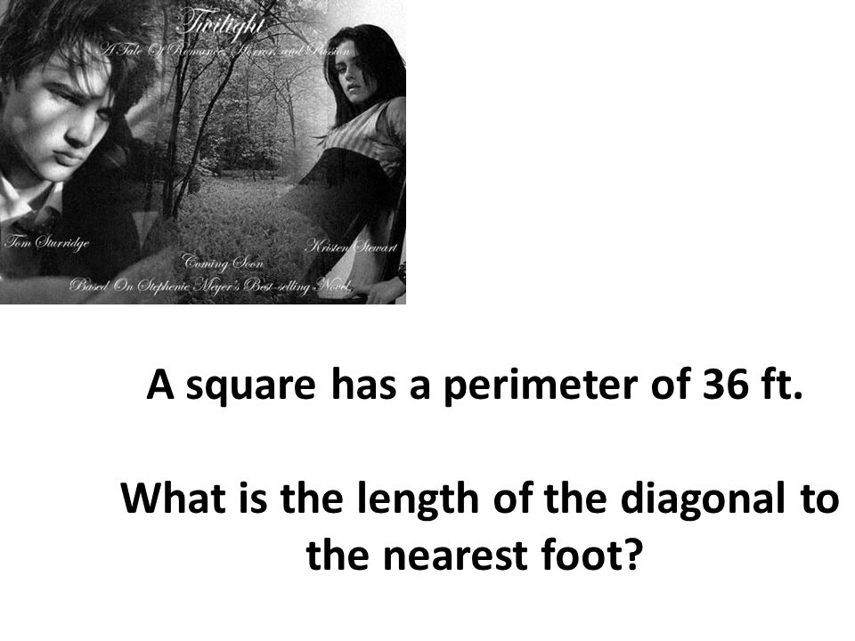 A square has a perimeter of 36 ft.