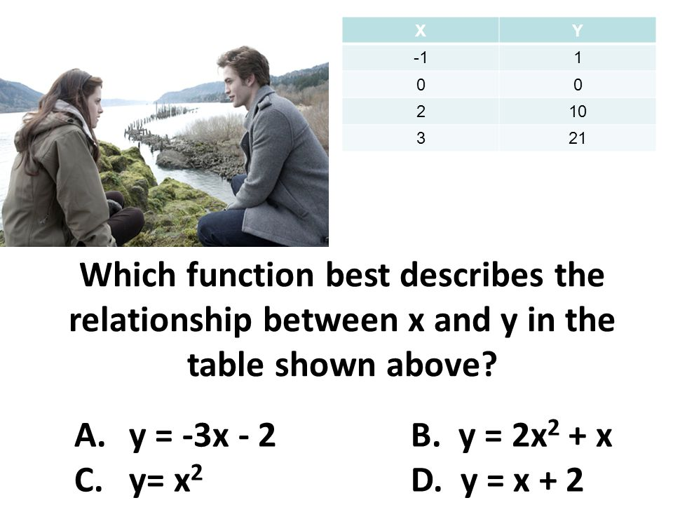Which function best describes the relationship between x and y in the