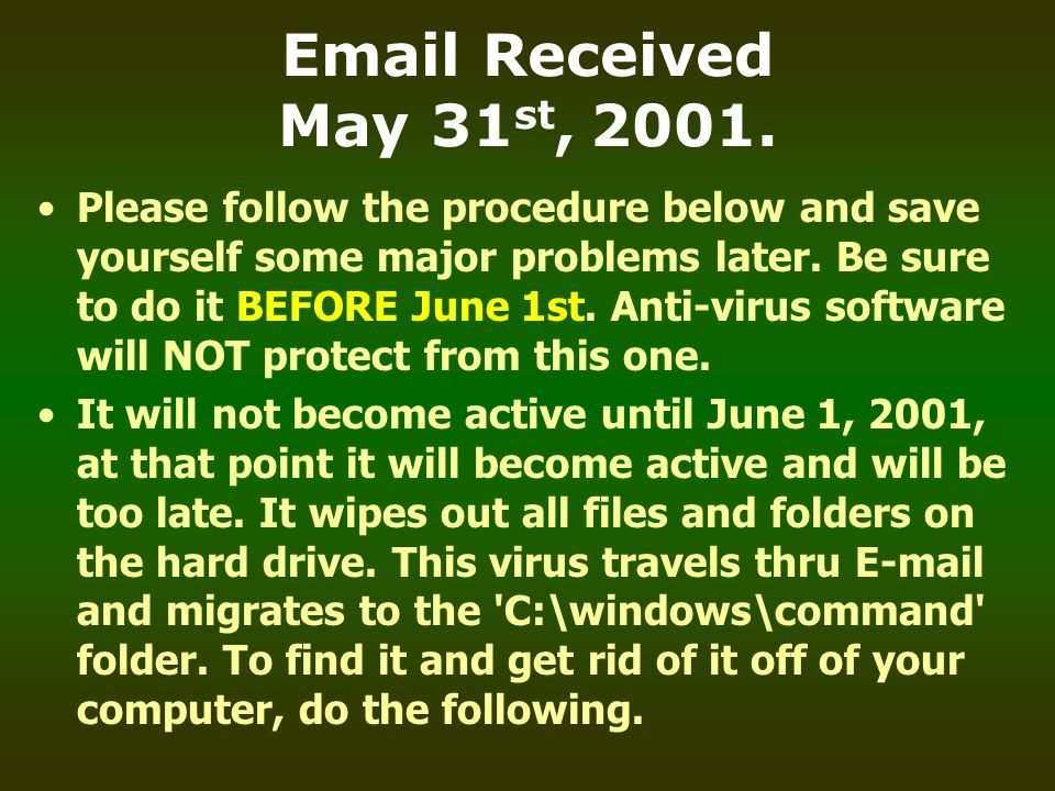 Email Received May 31st, 2001.