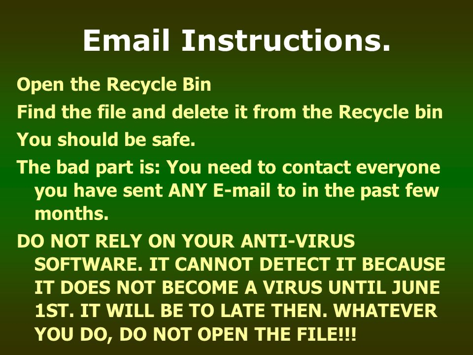 Email Instructions. Open the Recycle Bin