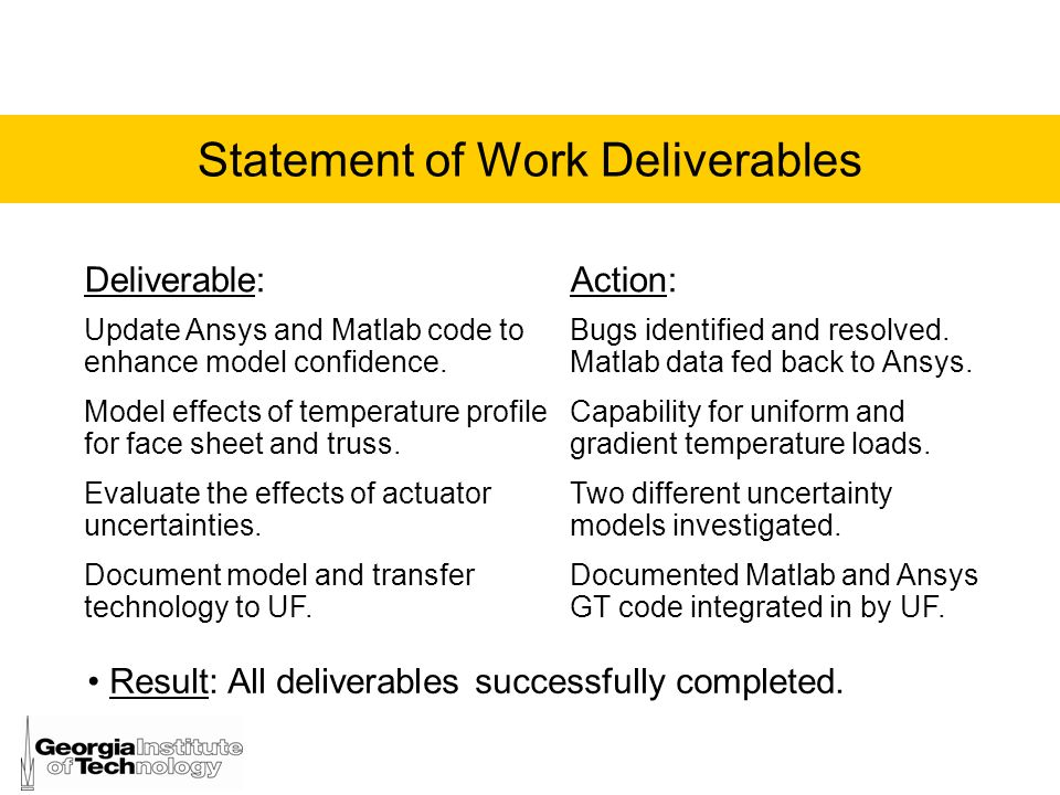 Statement of Work Deliverables
