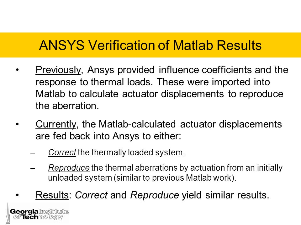 ANSYS Verification of Matlab Results